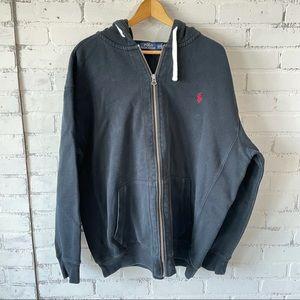 Ralph Lauren Polo Black Zip Up Hoodie 2XLT Jacket